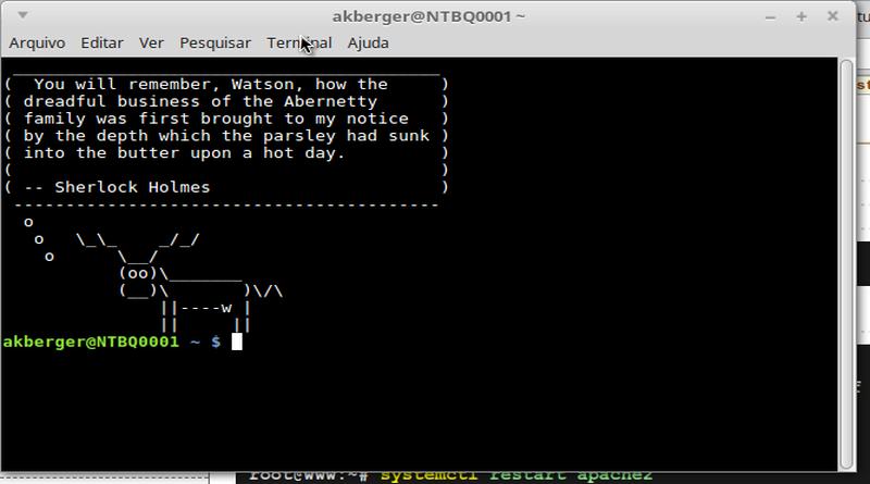 Uma vaquinha no meu terminal Linux!